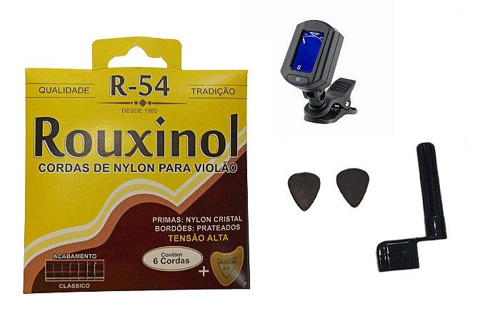 Kit Acessórios Violão Nylon Corda Rouxinol R54 Afinador