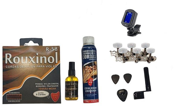 Kit Acessórios Violão Nylon Rouxinol Tarraxa Pino Grosso