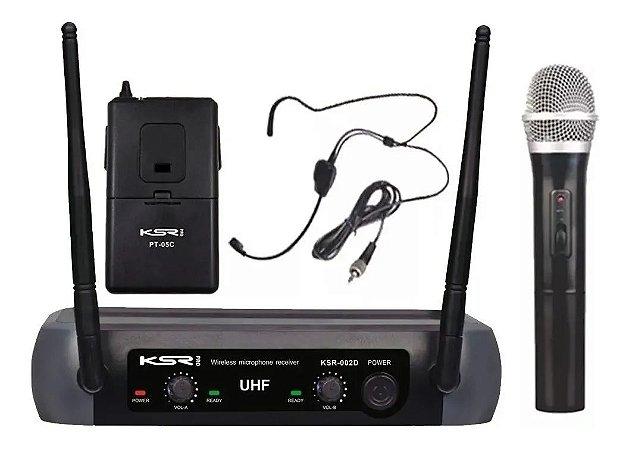 Microfone Sem Fio KSR PRO KSR002D Duplo Bastão UHF