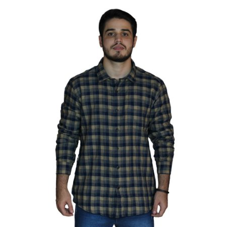Camisa JAB Fresh Touch Xadrez Khaki