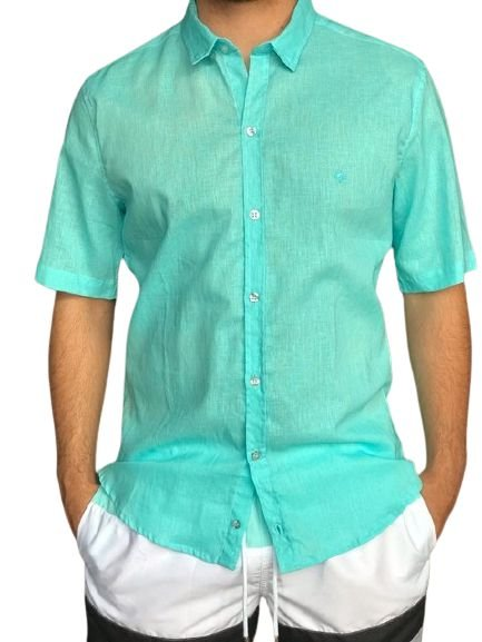 Camisa CATFISH Linho MC Azul