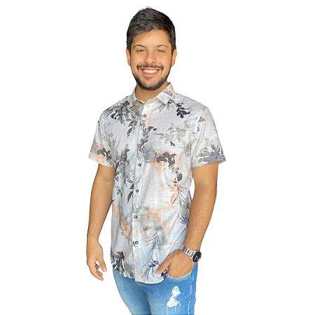 Camisa ACOSTAMENTO MC DG Floral Off White C/ Verde Oliva