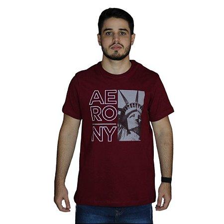 Camiseta AEROPOSTALE Estátua da Liberdade Bordô