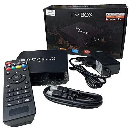 Smart TV Box 4K Tv 8GB memória RAM 128GB Armazenamento Controle Cabo Hdmi Android 10.1