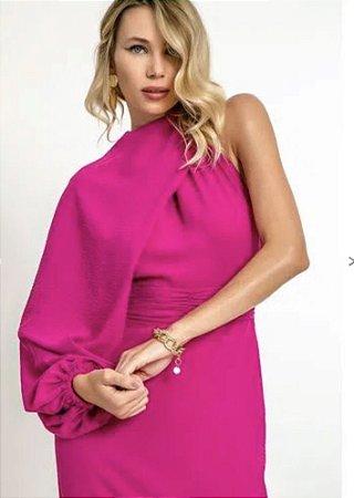 Vestido Midi pink com manga longa podendo ser retirada .