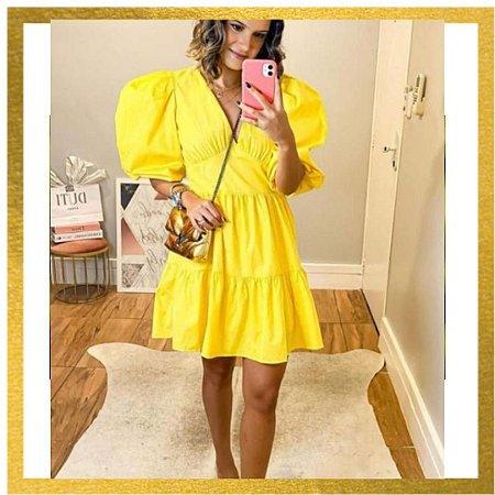 Vestido Babado Tricoline Aventurado Amarelo