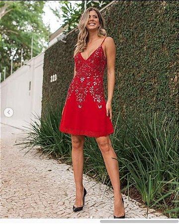 Vestido Curto Vermelho AVE RARA