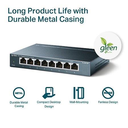 Switch 8 Portas TP-link 10/100/1000 Gigabit TL-SG108