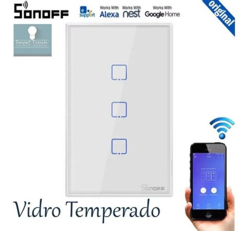 Sonoff 3 Botão-touch Voz Alexa Google & Wi-fi interruptor