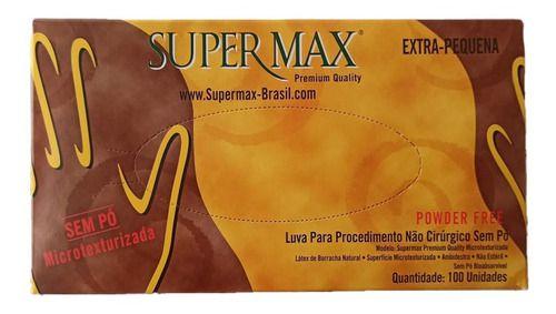 LUVA LÁTEX BRANCA SUPERMAX SEM PÓ 100 UNIDADES