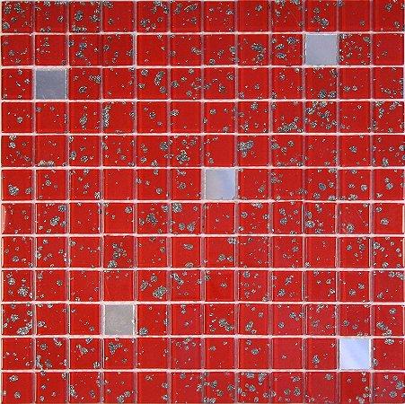 CRISTAL GLASS ESPELHO E VERMELHA COM GLITTER CG42-CG18