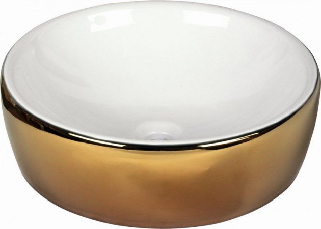 DUNE LAVABO WHITE AND GOLD 43,5X13,5 CM