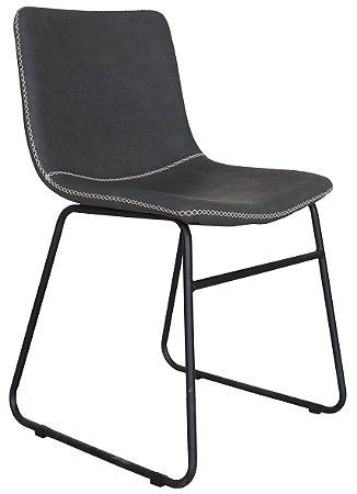 Cadeira Oxford Estofada Preta Base Aço