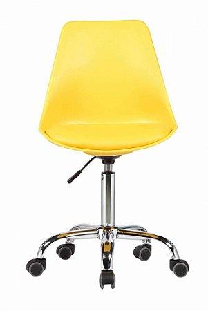 Cadeira Secretária Eames Base Giratória - Amarela