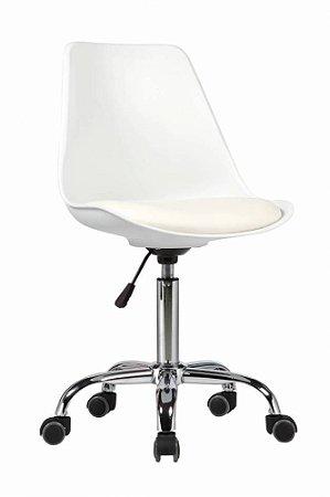 Cadeira Secretária Eames Base Giratória - Branca