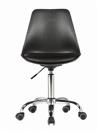 Cadeira Secretária Eames Base Giratória - Preta