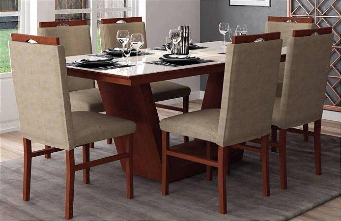 Conjunto Mesa de Jantar + 6 Cadeiras Estefany