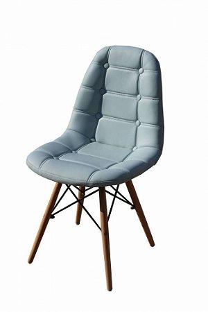 Cadeira Dkr Charles Eames Estofada Botonê - Azul Claro