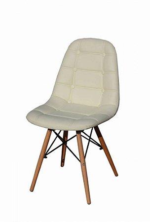 Cadeira Dkr Charles Eames Estofada Botonê - Creme