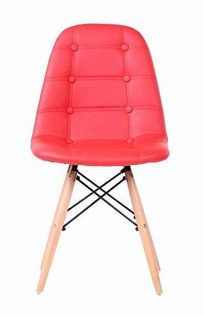 Cadeira Dkr Charles Eames Estofada Botonê - Vermelha