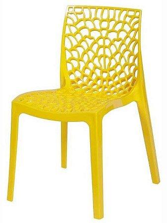 Cadeira Gruvyer Amarela em Polipropileno Vazada