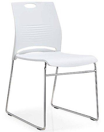 Cadeira Interlocutor Verona Base Cromada Branca