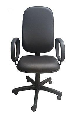 Cadeira Presidente Executiva Giratória Couro Ecológico Preta