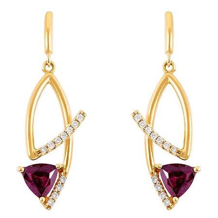 Par de Brincos de Ouro com Diamantes e Ametistas