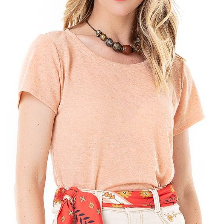 T-shirt de Linho Florir - Ref.:020874 Rosa Pink
