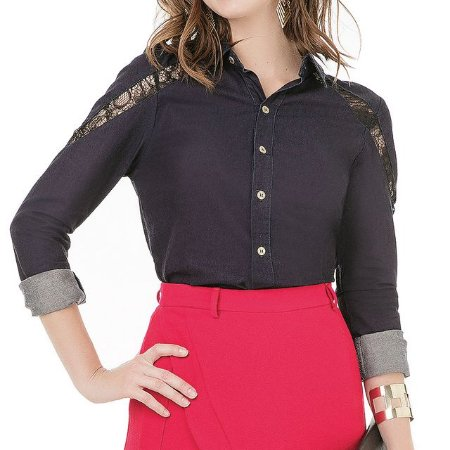 Camisa Jeans Renda e Bordado- Ref.: 129530