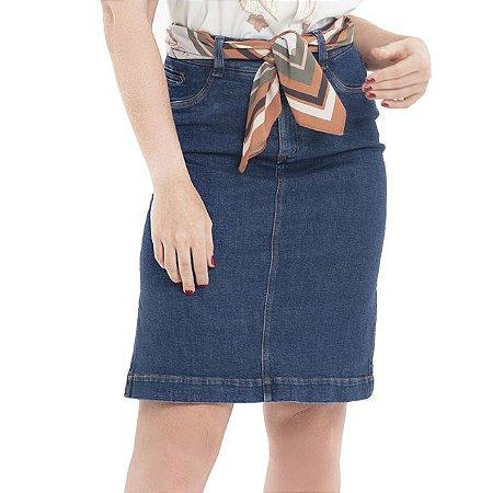 Saia Secretária Jeans com Fenda - Ref.:097432