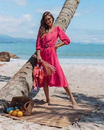 Vestido Midi Chemise Aura Pink - Ref.: 102911
