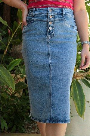 Saia Midi Jeans Recort Aura Ref:097436