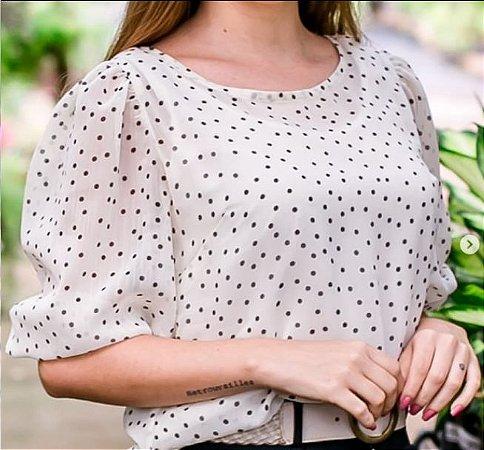 Blusa Leve Orquídea  branco com poá Ref.: 021642