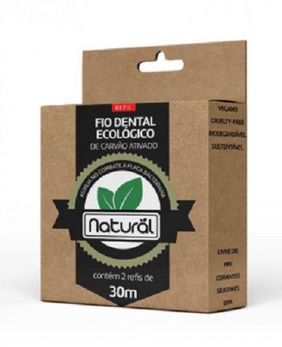 Fio Dental Ecológico de Carvão Ativado Natural REFIL (contém 2 refis de 30m)