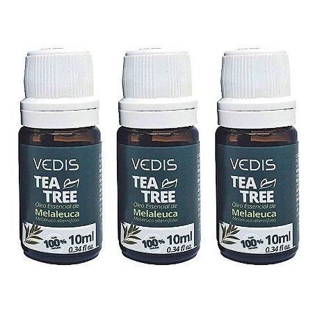 Kit com 3 Óleos Essenciais de Melaleuca Vedis - (Tea Tree)