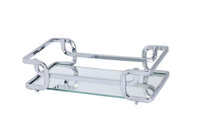 Bandeja Espelhada Hara de Alta Durabilidade Aço Inox - Modelo Luana 20x10 cm Cor Prata