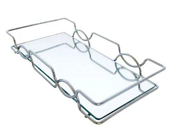 Bandeja Espelhada Hara de Alta Durabilidade Aço Inox - Modelo Carol 25x15 cm Cor Prata