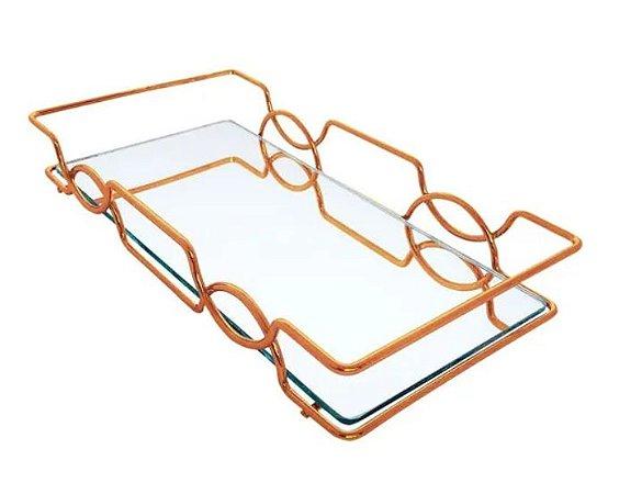 Bandeja Espelhada Hara de Alta Durabilidade Aço Inox - Modelo Carol 25x15 cm Cor Rosé