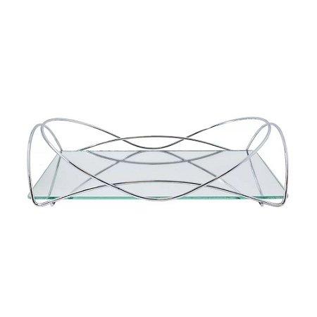 Bandeja Espelhada Hara de Alta Durabilidade Aço Inox - Modelo Isabela 25x15 cm Cor Prata