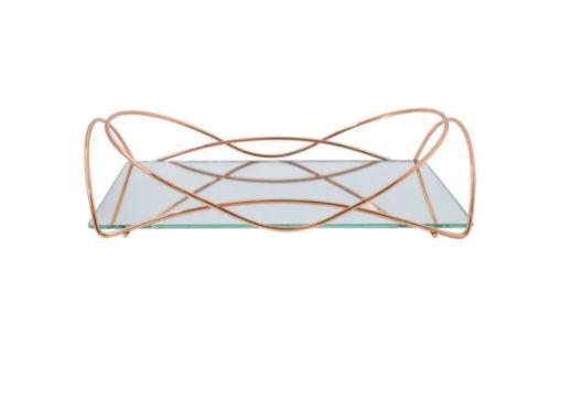 Bandeja Espelhada Hara de Alta Durabilidade Aço Inox - Modelo Isabela 25x15 cm Cor Rosé
