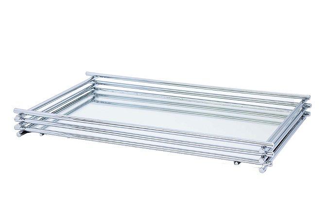 Bandeja Espelhada Hara de Alta Durabilidade Aço Inox - Modelo Wire 25x15 cm Cor Prata