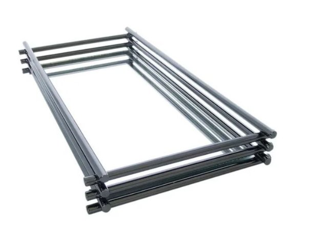Bandeja Espelhada Hara de Alta Durabilidade Aço Inox - Modelo Wire 25x15 cm Cor Onix