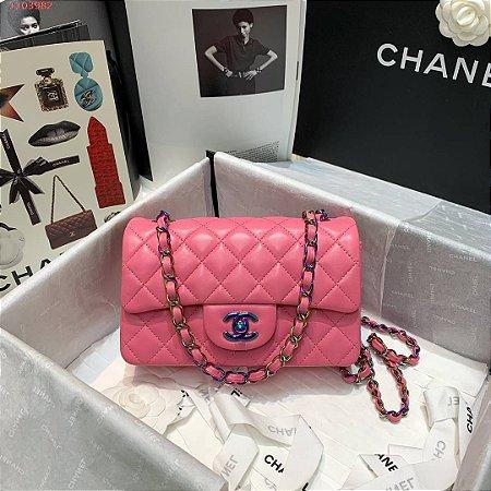 "Bolsa Chanel Mini Flap ""Bubble Gum"""