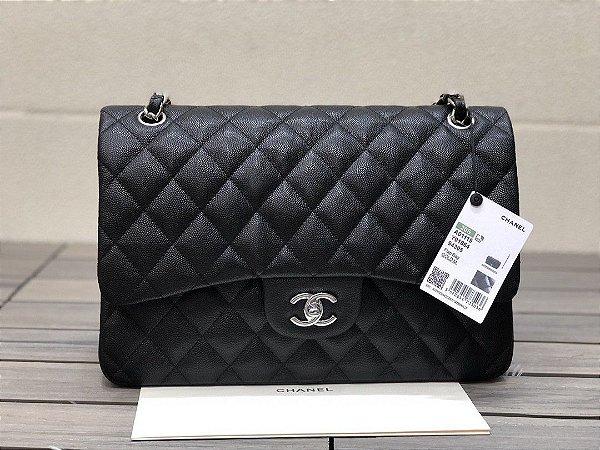 "Bolsa Chanel Double Flap Caviar Leather ""Black&Silver"""