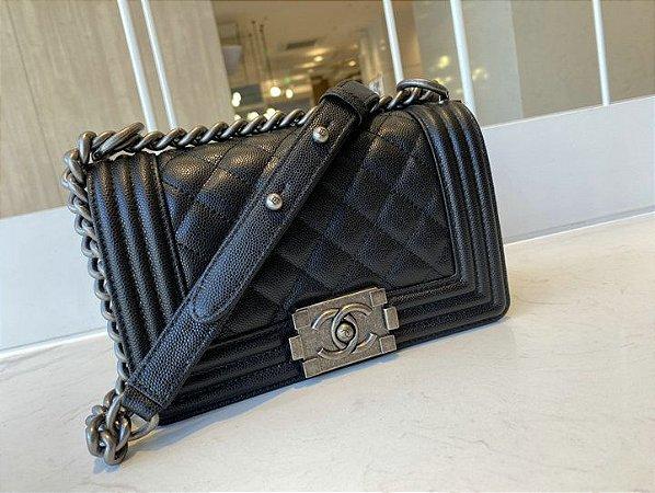 """Bolsa Chanel Bolsa Chanel Boy Caviar Leather """"Black"""""""