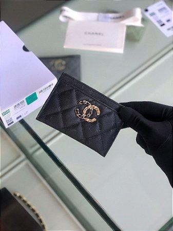 """Porta Cartão Chanel Caviar Leather """"Black"""""""