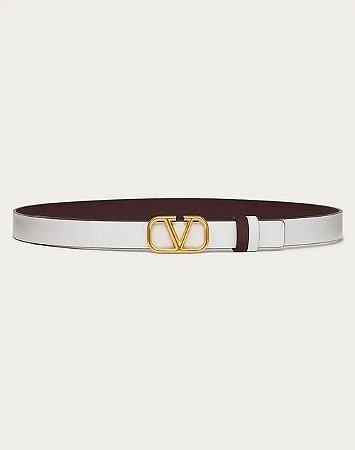 "Cinto Valentino Reversible Calfskin ""White/Gold"""