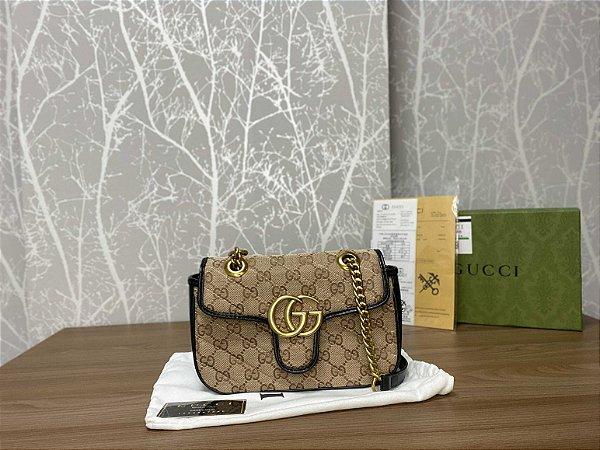 """Bolsa Gucci GG Marmont Canvas GG Original """"Black"""" (PRONTA ENTREGA)"""