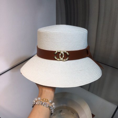 "Chapéu Chanel C ""Branca/Marrom"" (PRONTA ENTREGA)"
